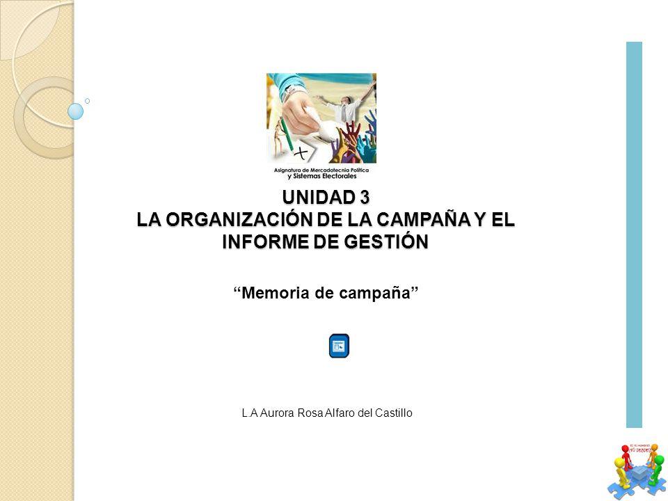 UNIDAD 3 LA ORGANIZACIÓN DE LA CAMPAÑA Y EL INFORME DE GESTIÓN L.A Aurora Rosa Alfaro del Castillo Memoria de campaña