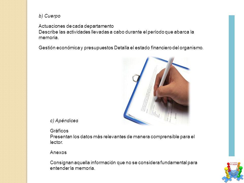 b) Cuerpo Actuaciones de cada departamento Describe las actividades llevadas a cabo durante el período que abarca la memoria.