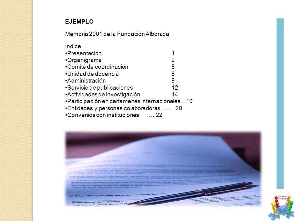 EJEMPLO Memoria 2001 de la Fundación Alborada índice Presentación1 Organigrama2 Comité de coordinación 5 Unidad de docencia8 Administración9 Servicio de publicaciones 12 Actividades de investigación 14 Participación en certámenes internacionales…10 Entidades y personas colaboradoras ……20 Convenios con instituciones …..22