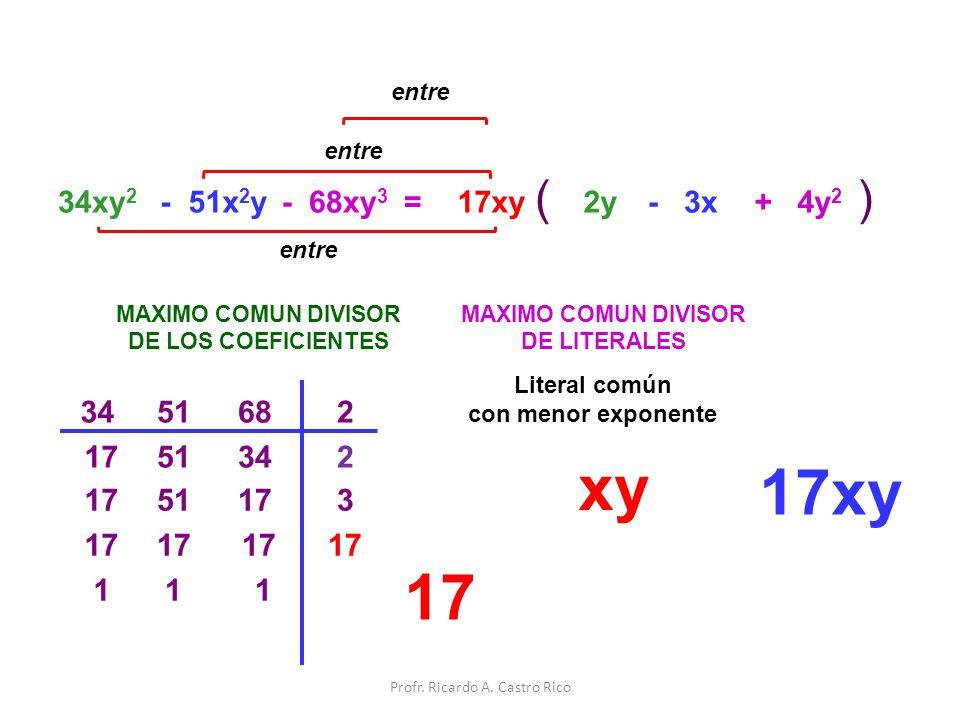=34xy 2 - 51x 2 y MAXIMO COMUN DIVISOR DE LOS COEFICIENTES 51682 51342 51173 1 1 MAXIMO COMUN DIVISOR DE LITERALES xy 17xy () entre 17xy 2y- 3x 17 Lit