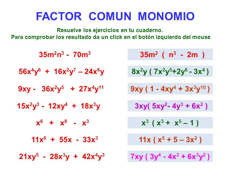 FACTOR COMUN MONOMIO 35m 2 n 3 - 70m 3 35m 2 ( n 3 - 2m ) 56x 4 y 6 + 16x 2 y 7 – 24x 6 y8x 2 y ( 7x 2 y 5 +2y 6 - 3x 4 ) 9xy - 36x 2 y 5 + 27x 4 y 11