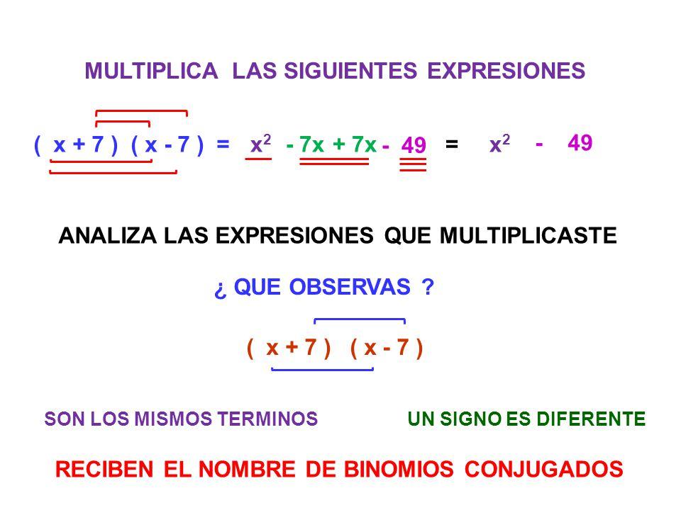 MULTIPLICA LAS SIGUIENTES EXPRESIONES ( x + 7 ) ( x - 7 ) =x2x2 - 7x+ 7x - 49 =x2x2 ANALIZA LAS EXPRESIONES QUE MULTIPLICASTE ¿ QUE OBSERVAS ? ( x + 7