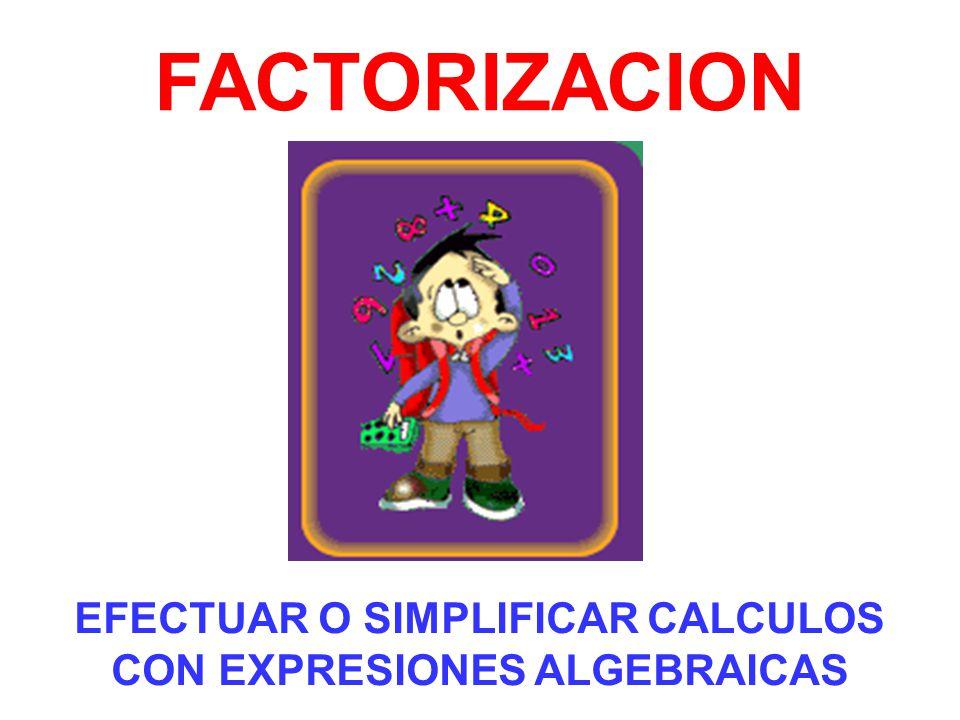 EFECTUAR O SIMPLIFICAR CALCULOS CON EXPRESIONES ALGEBRAICAS FACTORIZACION