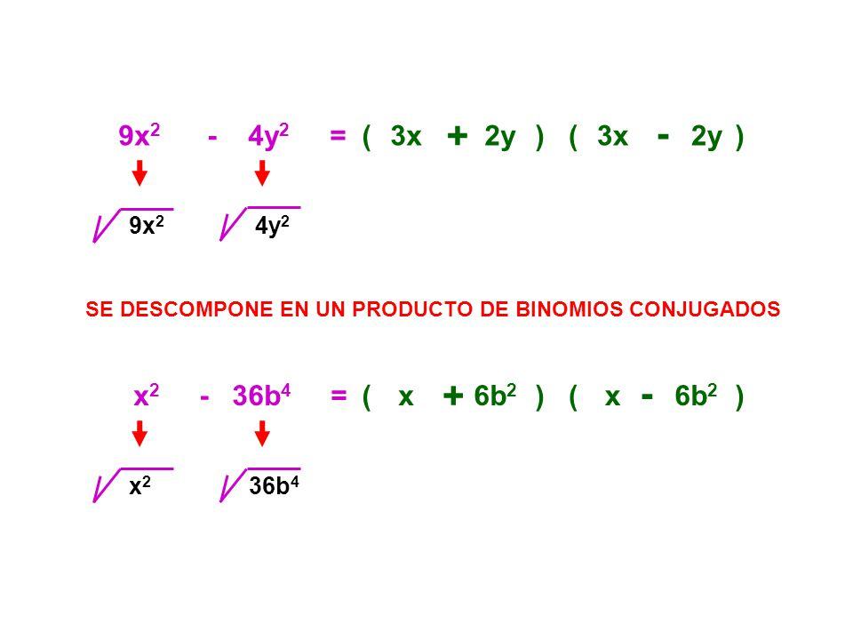 9x 2 - 4y 2 =(3x + 2y)(3x - 2y) SE DESCOMPONE EN UN PRODUCTO DE BINOMIOS CONJUGADOS 9x 2 4y 2 x 2 - 36b 4 =(x + 6b 2 )(x - ) x2x2 36b 4