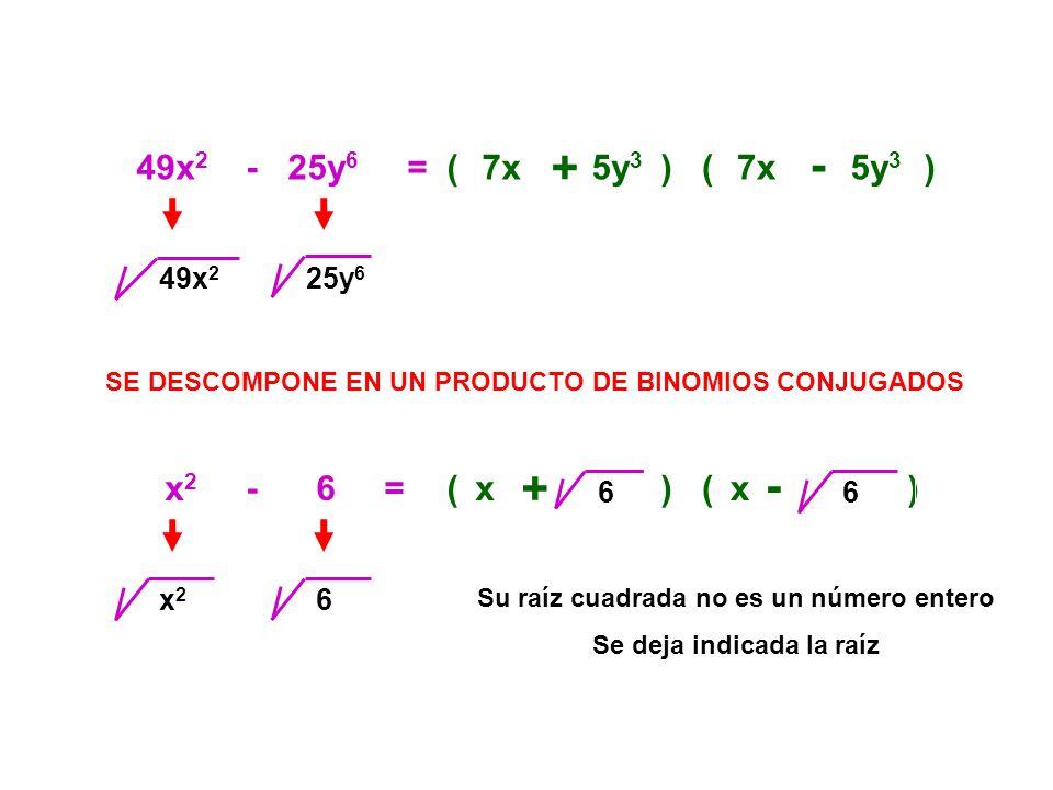 49x 2 - 25y 6 =(7x + 5y 3 )(7x - 5y 3 ) SE DESCOMPONE EN UN PRODUCTO DE BINOMIOS CONJUGADOS 25y 6 x 2 - 6 =(x + )(x - ) x2x2 649x 2 6 6 Su raíz cuadra