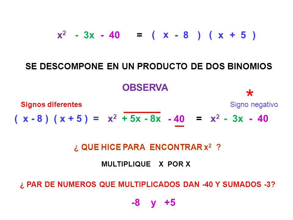 ( x2x2 - 3x - 40= ( x - 8 ) ( x + 5 ) =x2x2 + 5x- 8x - 40 =x2x2 - 3x- 40 SE DESCOMPONE EN UN PRODUCTO DE DOS BINOMIOS OBSERVA x ) - 8 ( ) x+ 5 MULTIPL