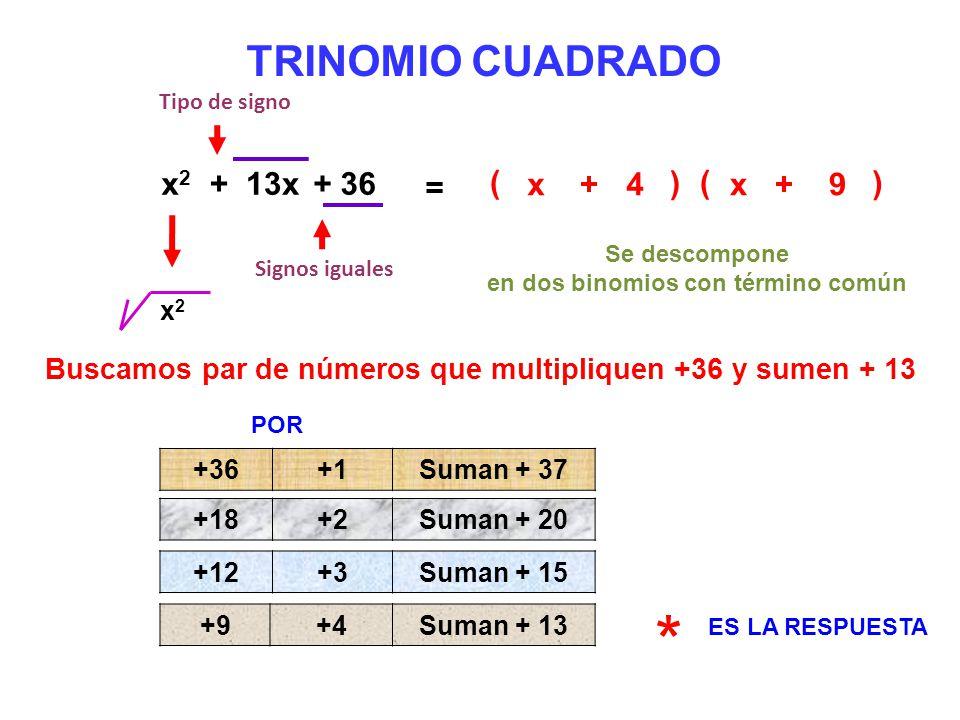 TRINOMIO CUADRADO ( x2x2 + 13x+ 36 = x ) ( ) x 9 Signos iguales ++ 4 Tipo de signo Se descompone en dos binomios con término común x2x2 Buscamos par d
