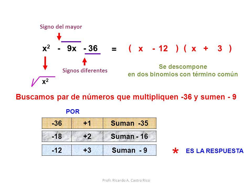 ( x2x2 - 9x- 36 = x ) ( ) x 3 Signos diferentes +- 12 Signo del mayor Se descompone en dos binomios con término común x2x2 Buscamos par de números que