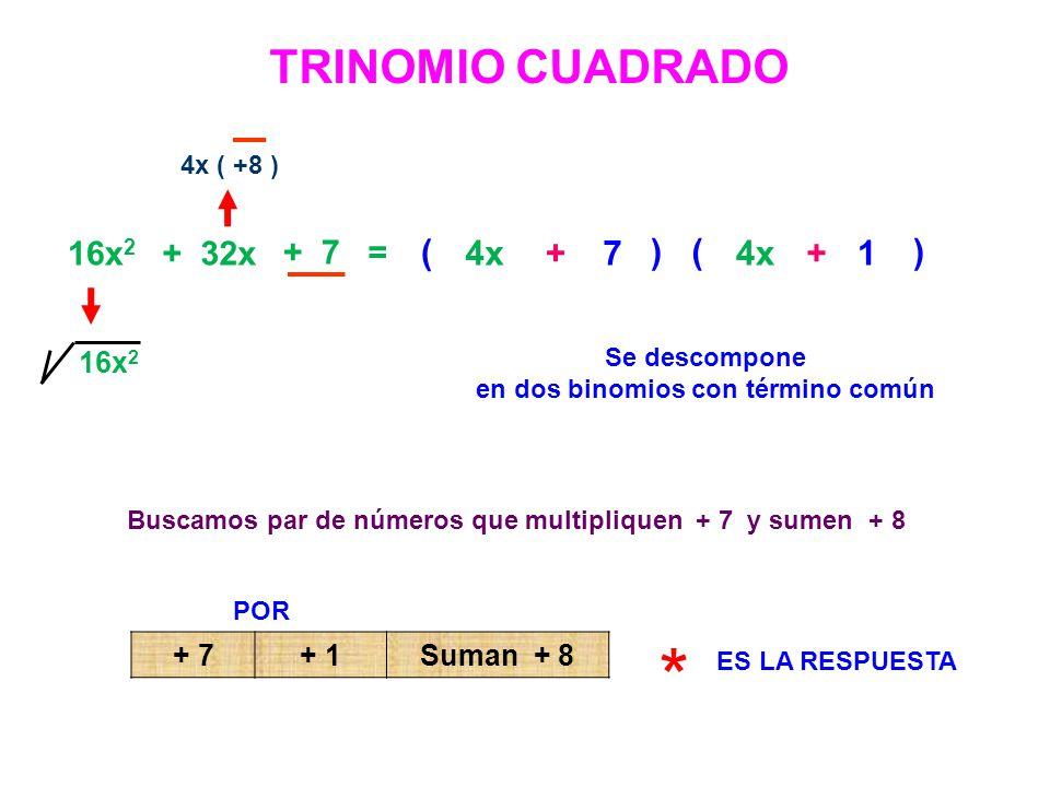 16x 2 + 32x + 7 = 4x ( +8 ) 16x 2 Se descompone en dos binomios con término común ( 4x ) ( ) 4x 1+ + 7 Buscamos par de números que multipliquen + 7 y