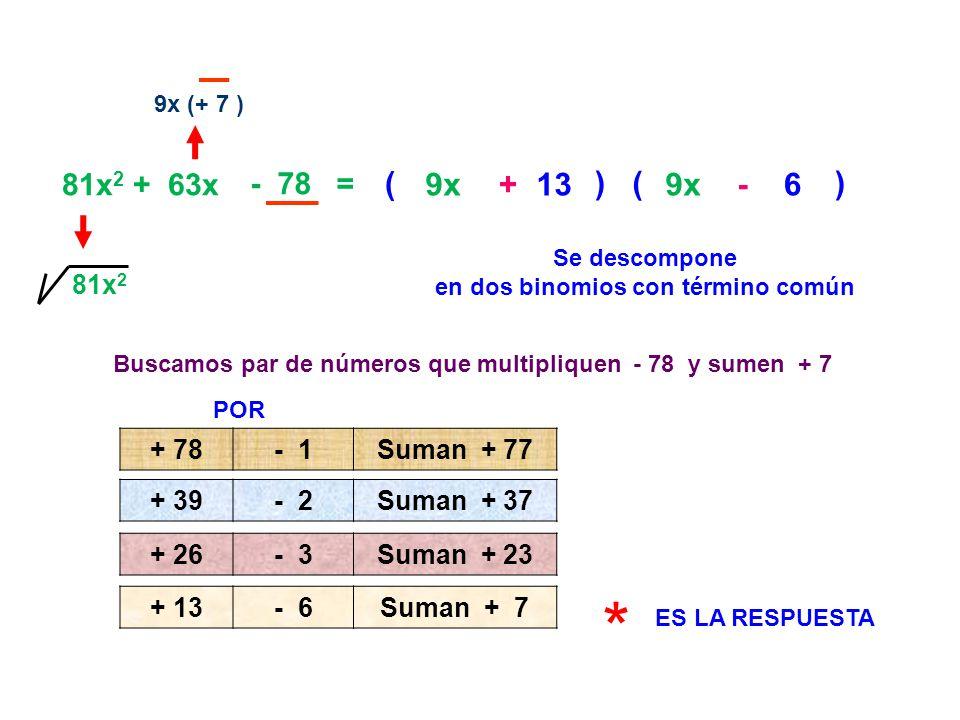81x 2 + 63x - 78 = 9x (+ 7 ) 81x 2 Se descompone en dos binomios con término común ( 9x ) ( ) 9x 6- + 13 Buscamos par de números que multipliquen - 78