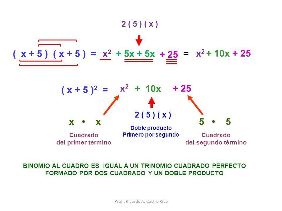 ( x + 5 ) ( x + 5 ) =x2x2 + 5x + 25 = x2x2 + 10x 2 ( 5 ) ( x ) ( x + 5 ) 2 = x2x2 + 25 + 10x BINOMIO AL CUADRO ES IGUAL A UN TRINOMIO CUADRADO PERFECT