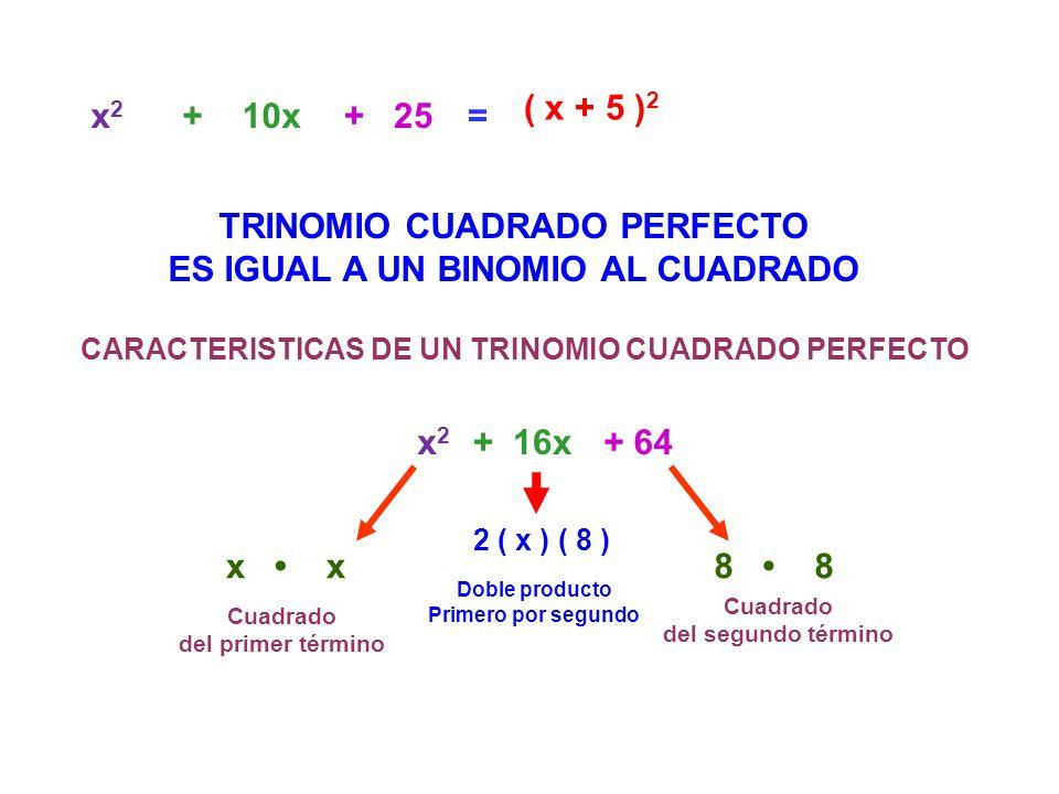 =x2x2 + 25 + 10x TRINOMIO CUADRADO PERFECTO ES IGUAL A UN BINOMIO AL CUADRADO ( x + 5 ) 2 CARACTERISTICAS DE UN TRINOMIO CUADRADO PERFECTO x 2 + 64+ 1