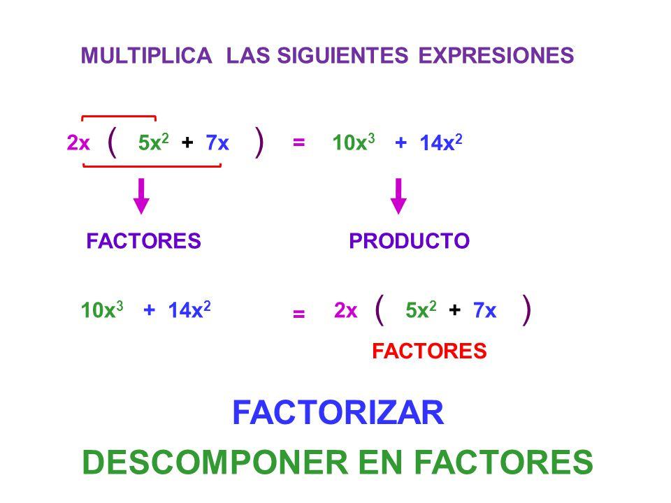 MULTIPLICA LAS SIGUIENTES EXPRESIONES 2x () 5x 2 + 7x=10x 3 + 14x 2 FACTORESPRODUCTO 2x () 5x 2 + 7x = 10x 3 + 14x 2 FACTORES DESCOMPONER EN FACTORES