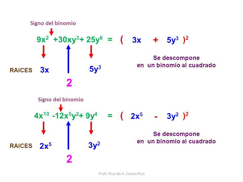 9x 2 +30xy 3 + 25y 6 = Signo del binomio Se descompone en un binomio al cuadrado ( )2)2 3x + 5y 3 3x 5y 3 2 RAICES 4x 10 -12x 5 y 2 + 9y 4 = Signo del