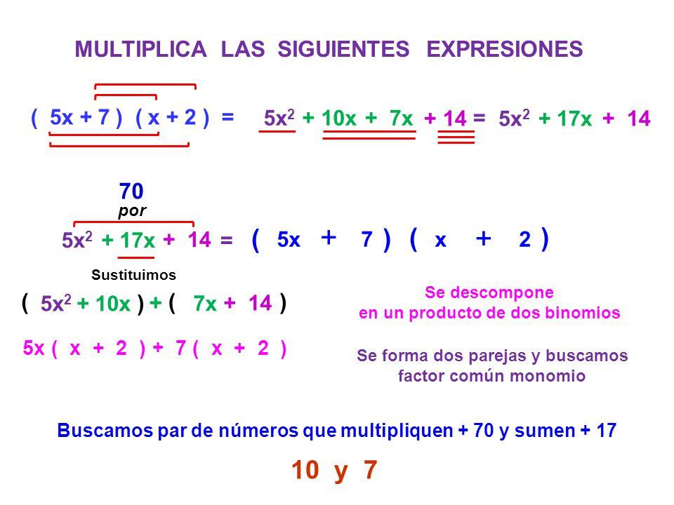 MULTIPLICA LAS SIGUIENTES EXPRESIONES ( 5x + 7 ) ( x + 2 ) = 5x 2 + 10x+ 7x 5x 2 + 17x + 14 = 5x 2 + 17x + 14 = Se descompone en un producto de dos bi