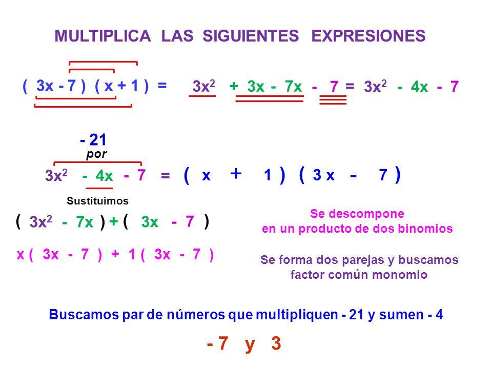 MULTIPLICA LAS SIGUIENTES EXPRESIONES ( 3x - 7 ) ( x + 1 ) = 3x 2 + 3x - 7x 3x 2 - 4x - 7 = 3x 2 - 4x - 7 = Se descompone en un producto de dos binomi