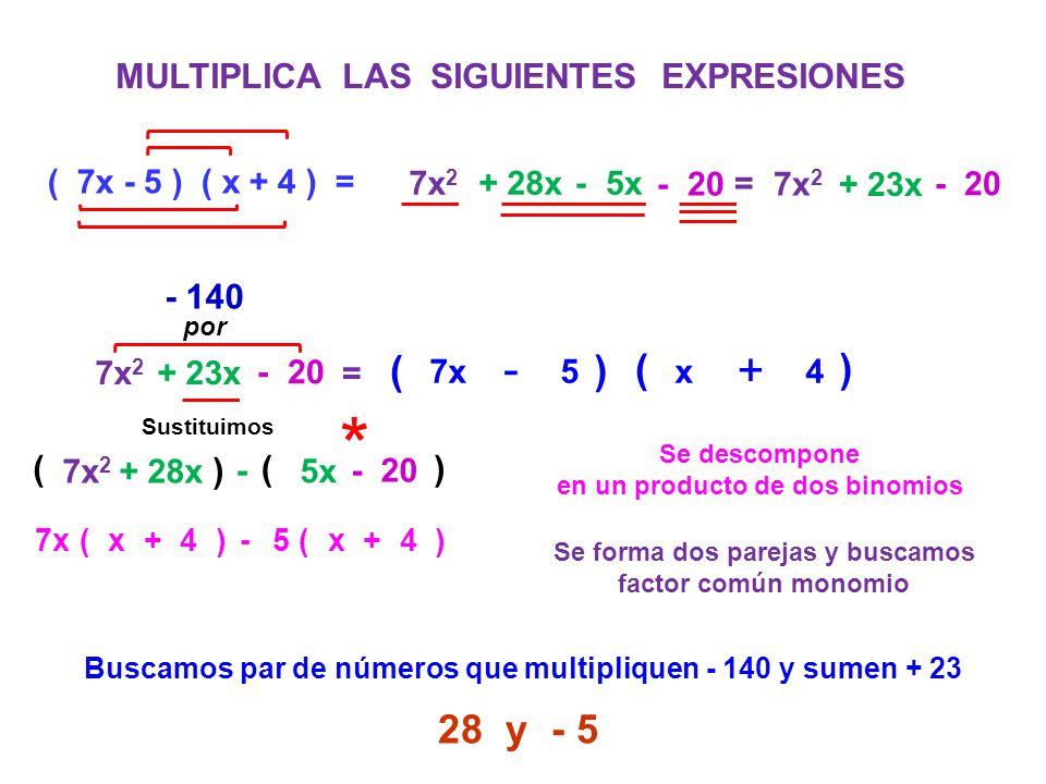 MULTIPLICA LAS SIGUIENTES EXPRESIONES ( 7x - 5 ) ( x + 4 ) = 7x 2 + 28x - 5x 7x 2 + 23x - 20 = 7x 2 + 23x - 20 = Se descompone en un producto de dos b