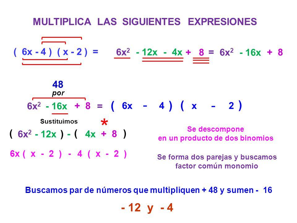 MULTIPLICA LAS SIGUIENTES EXPRESIONES ( 6x - 4 ) ( x - 2 ) = 6x 2 - 12x - 4x 6x 2 - 16x + 8 = 6x 2 - 16x + 8 = Se descompone en un producto de dos bin