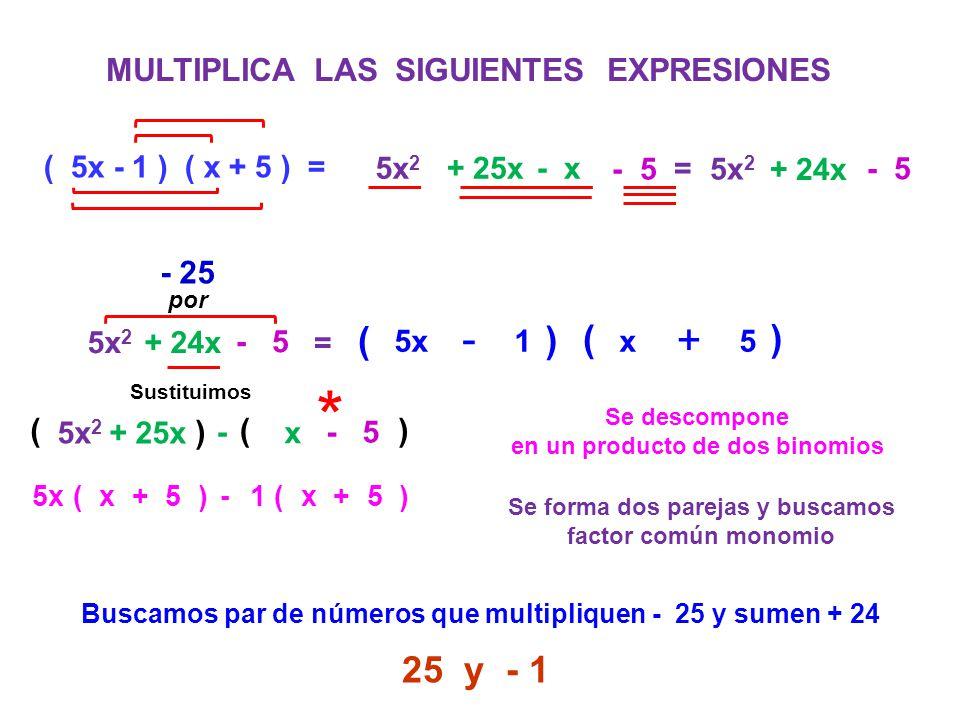 MULTIPLICA LAS SIGUIENTES EXPRESIONES ( 5x - 1 ) ( x + 5 ) = 5x 2 + 25x - x 5x 2 + 24x - 5 = 5x 2 + 24x - 5 = Se descompone en un producto de dos bino