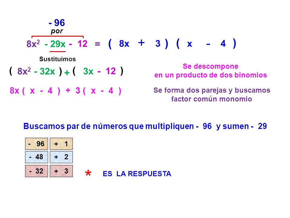 8x 2 - 29x - 12 = Se descompone en un producto de dos binomios ( - 96 Buscamos par de números que multipliquen - 96 y sumen - 29 Sustituimos 8x 2 - 32