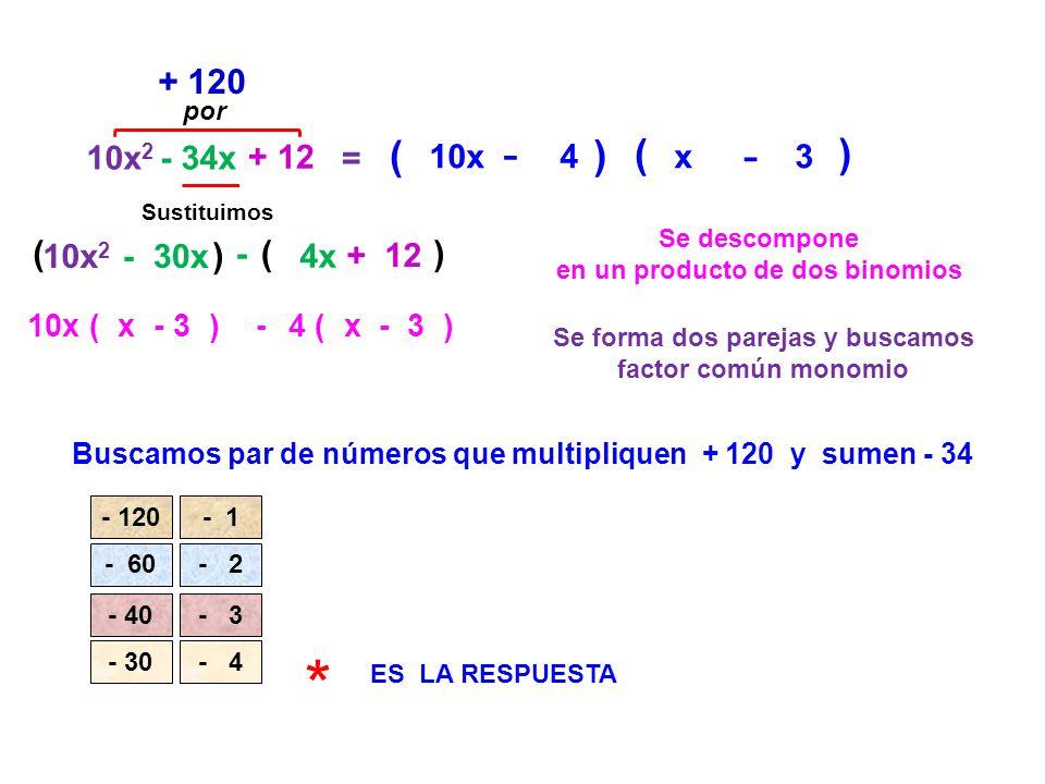 10x 2 - 34x + 12 = Se descompone en un producto de dos binomios ( + 120 Buscamos par de números que multipliquen + 120 y sumen - 34 Sustituimos 10x 2