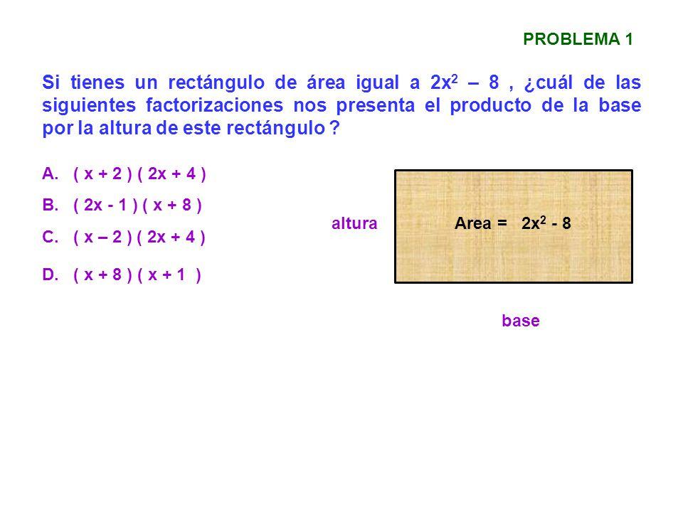 Si tienes un rectángulo de área igual a 2x 2 – 8, ¿cuál de las siguientes factorizaciones nos presenta el producto de la base por la altura de este re