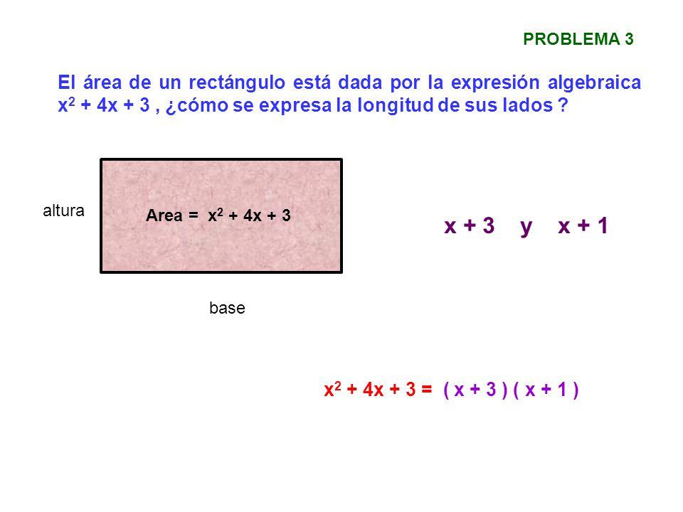 El área de un rectángulo está dada por la expresión algebraica x 2 + 4x + 3, ¿cómo se expresa la longitud de sus lados ? PROBLEMA 3 Area = x 2 + 4x +