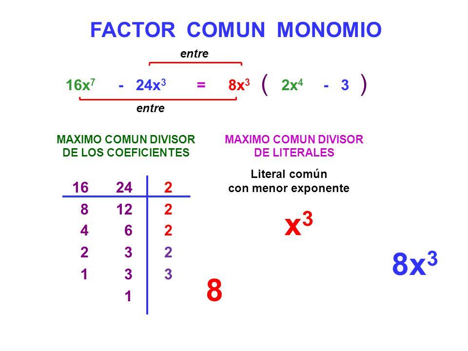 FACTOR COMUN MONOMIO =16x 7 - 24x 3 MAXIMO COMUN DIVISOR DE LOS COEFICIENTES 16242 8122 4 62 2 32 1 3 1 MAXIMO COMUN DIVISOR DE LITERALES x 3 8x 3 ()