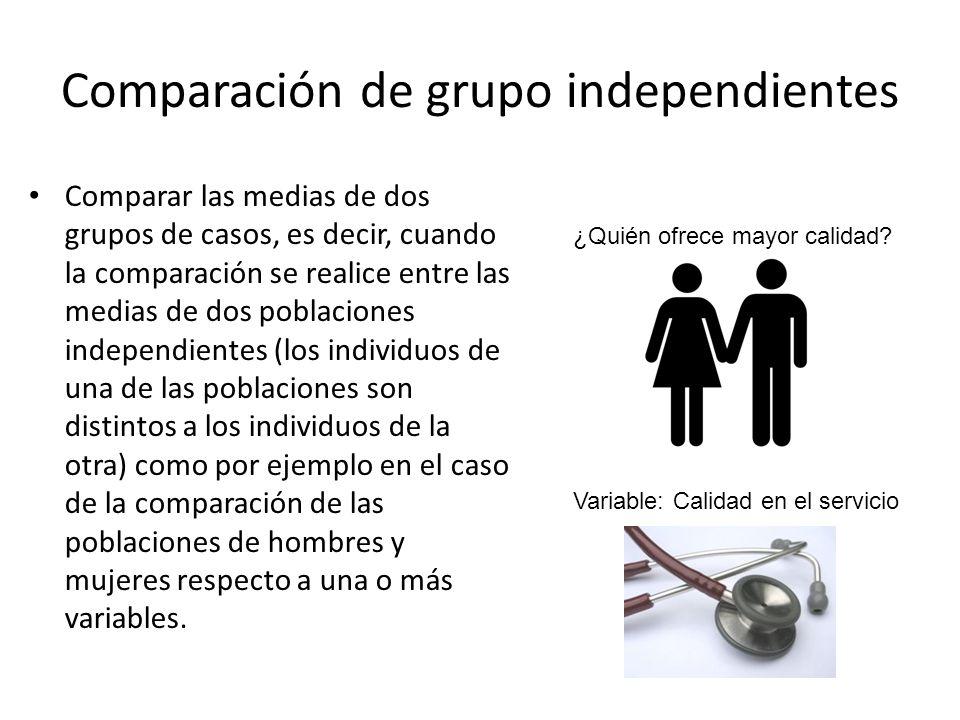 Comparación de grupo independientes Comparar las medias de dos grupos de casos, es decir, cuando la comparación se realice entre las medias de dos pob