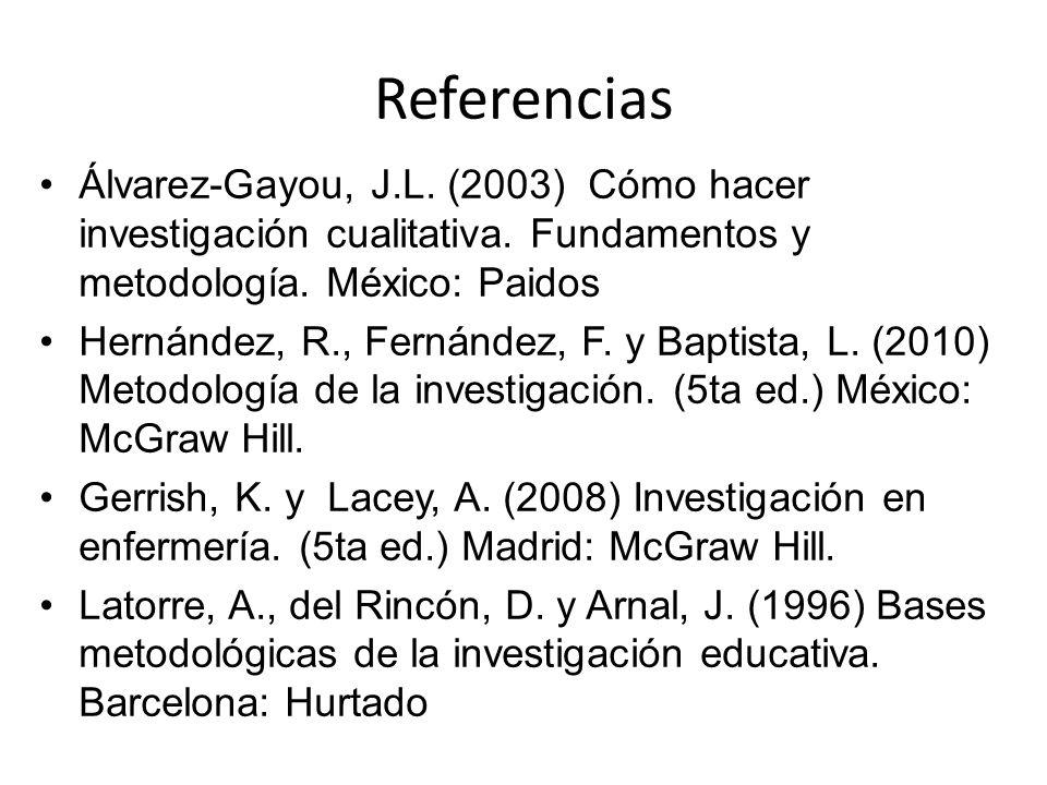Referencias Álvarez-Gayou, J.L. (2003) Cómo hacer investigación cualitativa. Fundamentos y metodología. México: Paidos Hernández, R., Fernández, F. y