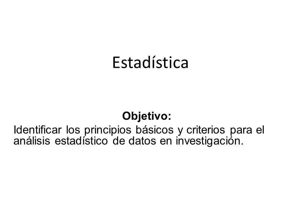 Estadística Objetivo: Identificar los principios básicos y criterios para el análisis estadístico de datos en investigación.