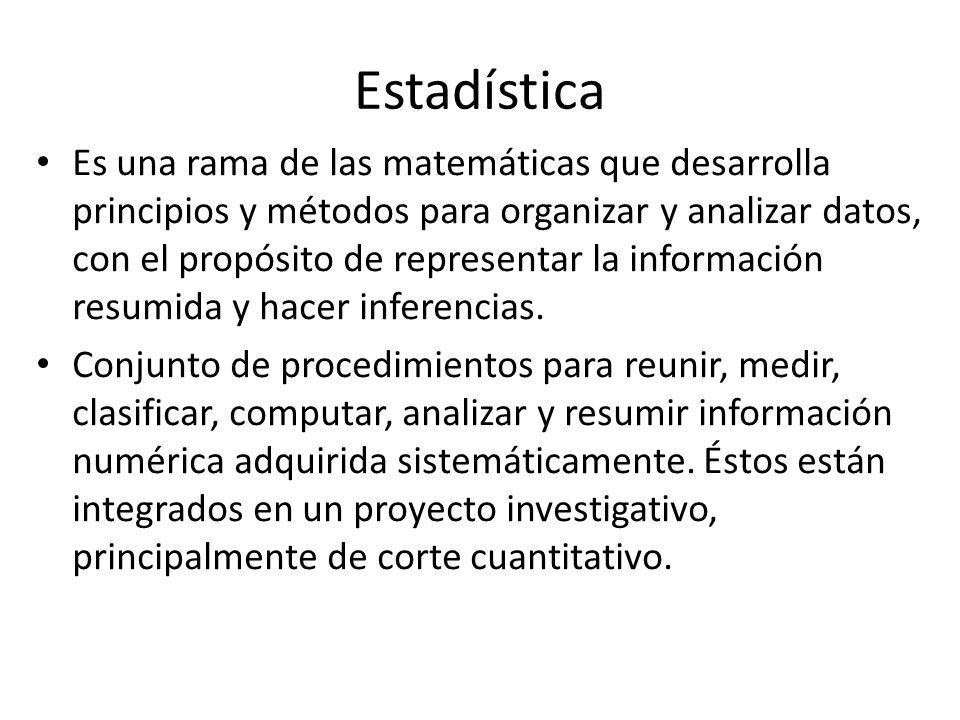 Estadística Descriptiva Se ocupa de las organización y resumen de la información contenida en un conjunto de datos, sin hacer inferencia alguna, a través de diversos procedimientos entre las que destacan los siguientes: 1.Obtención de distribuciones de frecuencias.