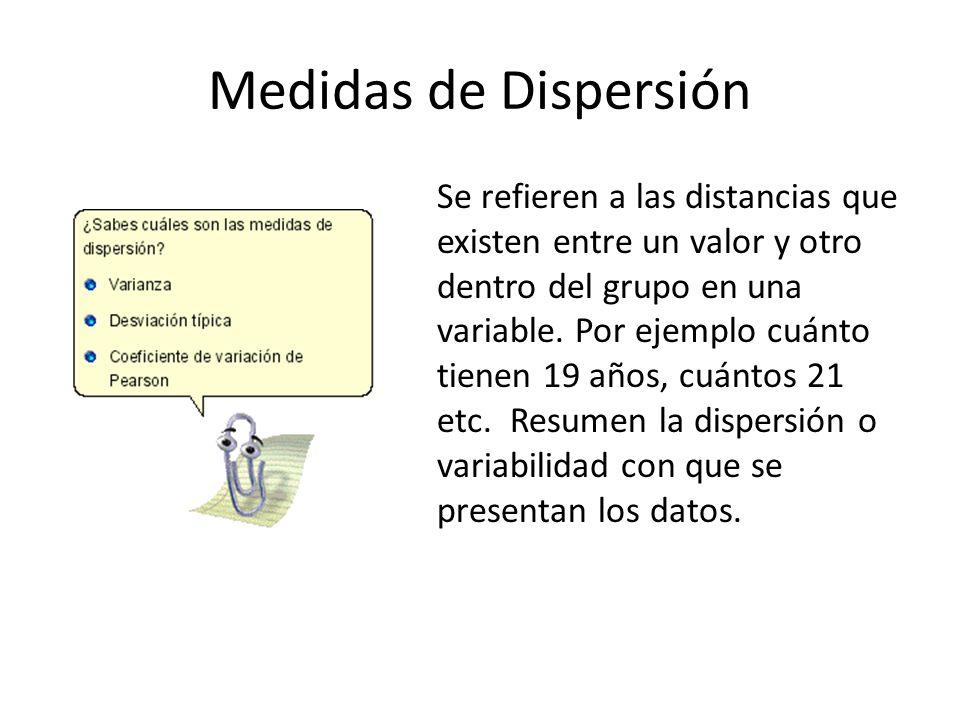 Medidas de Dispersión Se refieren a las distancias que existen entre un valor y otro dentro del grupo en una variable. Por ejemplo cuánto tienen 19 añ