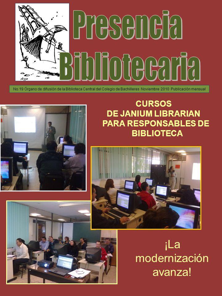LIBERACIÓN DEL CATÁLOGO AL PÚBLICO E INSTALACIÓN DE NUEVAS COMPUTADORAS EN LAS 21 BIBLIOTECAS En el marco del proyecto de Modernización de Bibliotecas, los días 18, 19 y 20 de octubre se llevaron a cabo reuniones con los Responsables de biblioteca de los 20 planteles, en las que el Lic.
