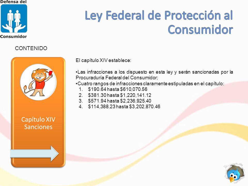 CONTENIDO El capítulo XIV establece: Las infracciones a los dispuesto en esta ley y serán sancionadas por la Procuraduría Federal del Consumidor; Cuatro rangos de infracciones claramente estipuladas en el capítulo: 1.$190.64 hasta $610,070.56 2.$381.30 hasta $1,220,141.12 3.$571.94 hasta $2,236,925.40 4.$114,388.23 hasta $3,202,870.46