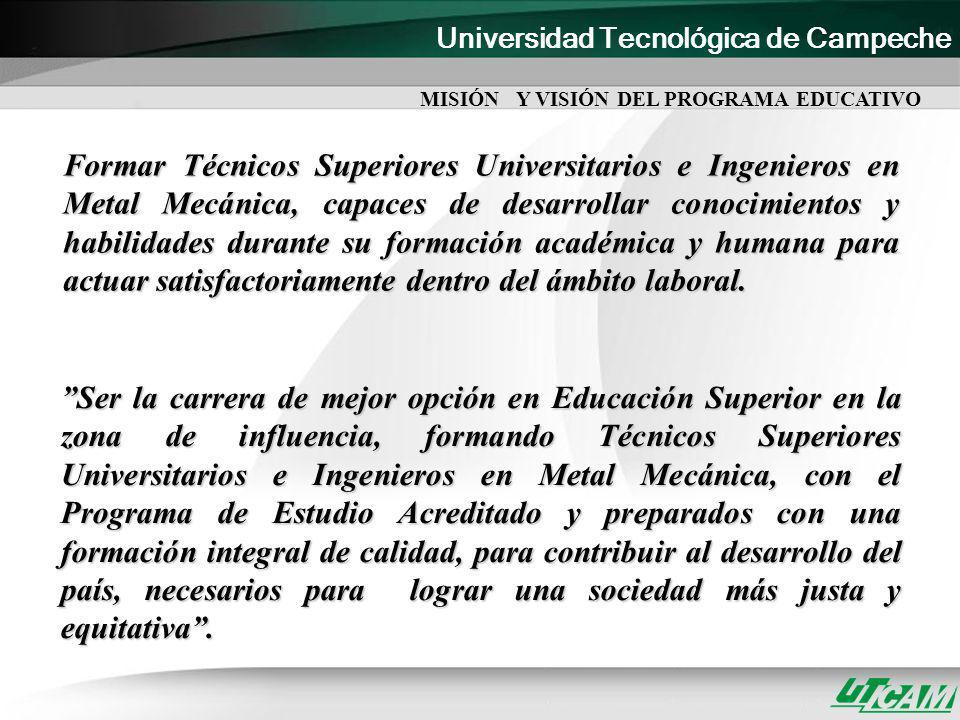 Universidad Tecnológica de Campeche PERFIL PROFESIONAL El Ingeniero en Metal Mecánica cuenta con las competencias profesionales necesarias para su desempeño en el campo laboral, en el ámbito, local, regional y nacional.