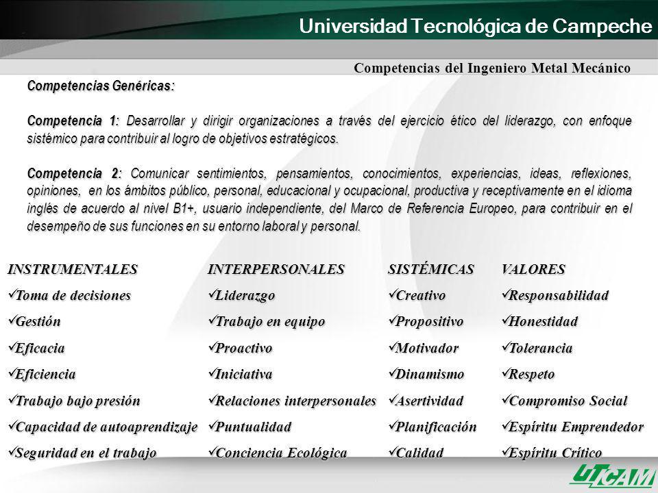 Universidad Tecnológica de Campeche Competencias Genéricas: Competencia 1: Desarrollar y dirigir organizaciones a través del ejercicio ético del lider