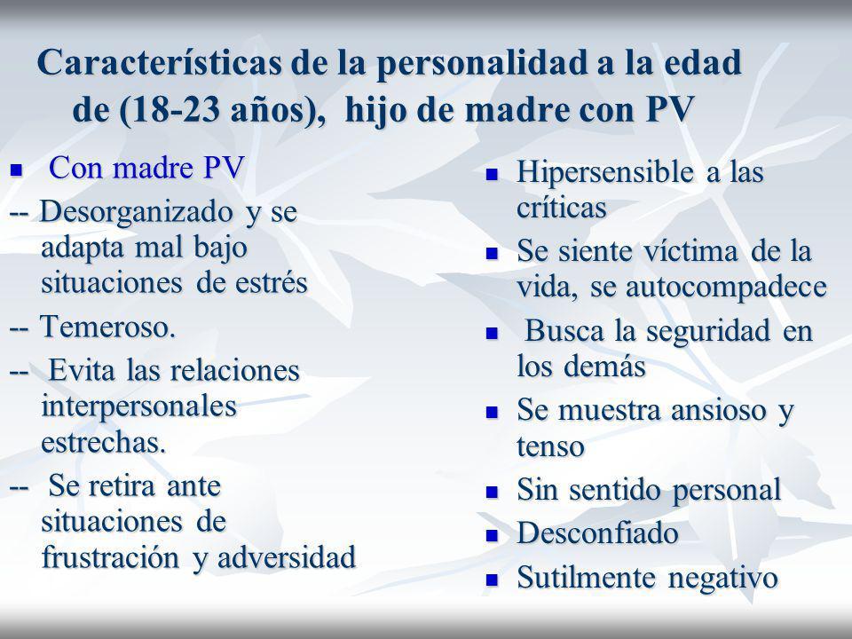 Características de la personalidad a la edad de (18-23 años), hijo de madre con PV Características de la personalidad a la edad de (18-23 años), hijo