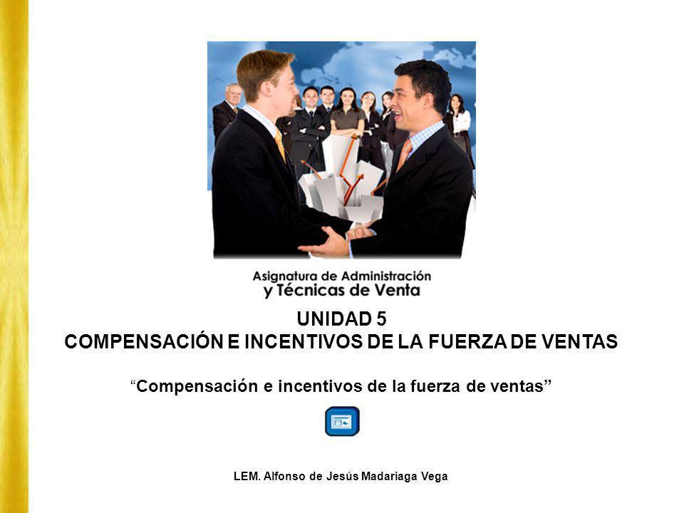 UNIDAD 5 COMPENSACIÓN E INCENTIVOS DE LA FUERZA DE VENTAS Compensación e incentivos de la fuerza de ventas LEM. Alfonso de Jesús Madariaga Vega