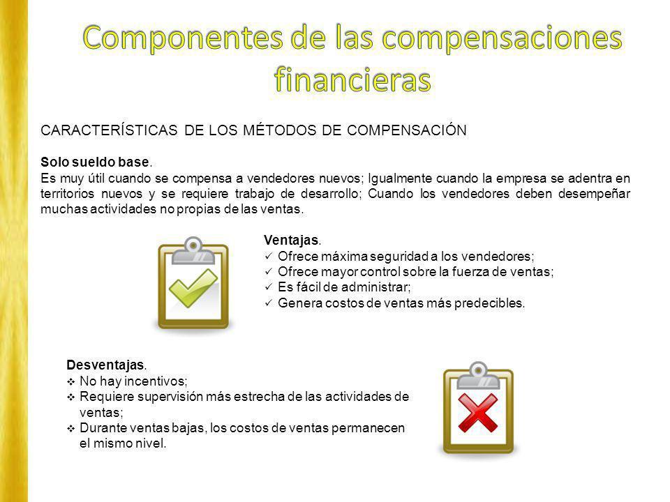 CARACTERÍSTICAS DE LOS MÉTODOS DE COMPENSACIÓN Solo sueldo base. Es muy útil cuando se compensa a vendedores nuevos; Igualmente cuando la empresa se a