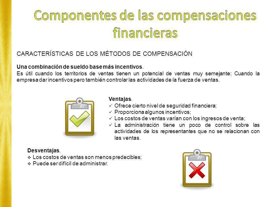 CARACTERÍSTICAS DE LOS MÉTODOS DE COMPENSACIÓN Una combinación de sueldo base más incentivos. Es útil cuando los territorios de ventas tienen un poten