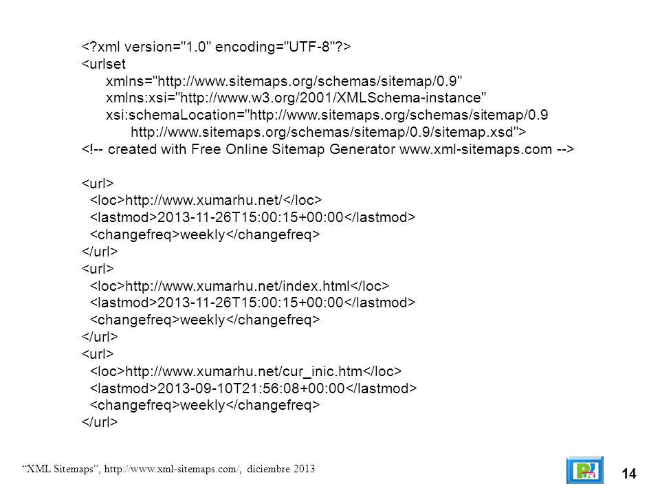 14 XML Sitemaps, http://www.xml-sitemaps.com/, diciembre 2013 <urlset xmlns= http://www.sitemaps.org/schemas/sitemap/0.9 xmlns:xsi= http://www.w3.org/2001/XMLSchema-instance xsi:schemaLocation= http://www.sitemaps.org/schemas/sitemap/0.9 http://www.sitemaps.org/schemas/sitemap/0.9/sitemap.xsd > http://www.xumarhu.net/ 2013-11-26T15:00:15+00:00 weekly http://www.xumarhu.net/index.html 2013-11-26T15:00:15+00:00 weekly http://www.xumarhu.net/cur_inic.htm 2013-09-10T21:56:08+00:00 weekly