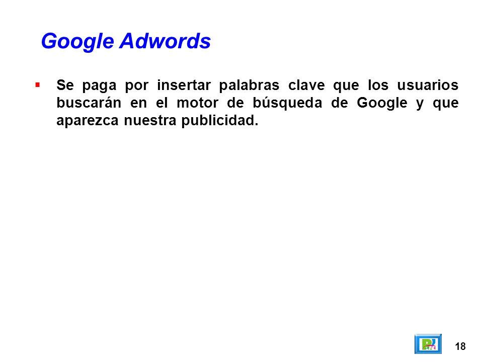 18 Se paga por insertar palabras clave que los usuarios buscarán en el motor de búsqueda de Google y que aparezca nuestra publicidad.