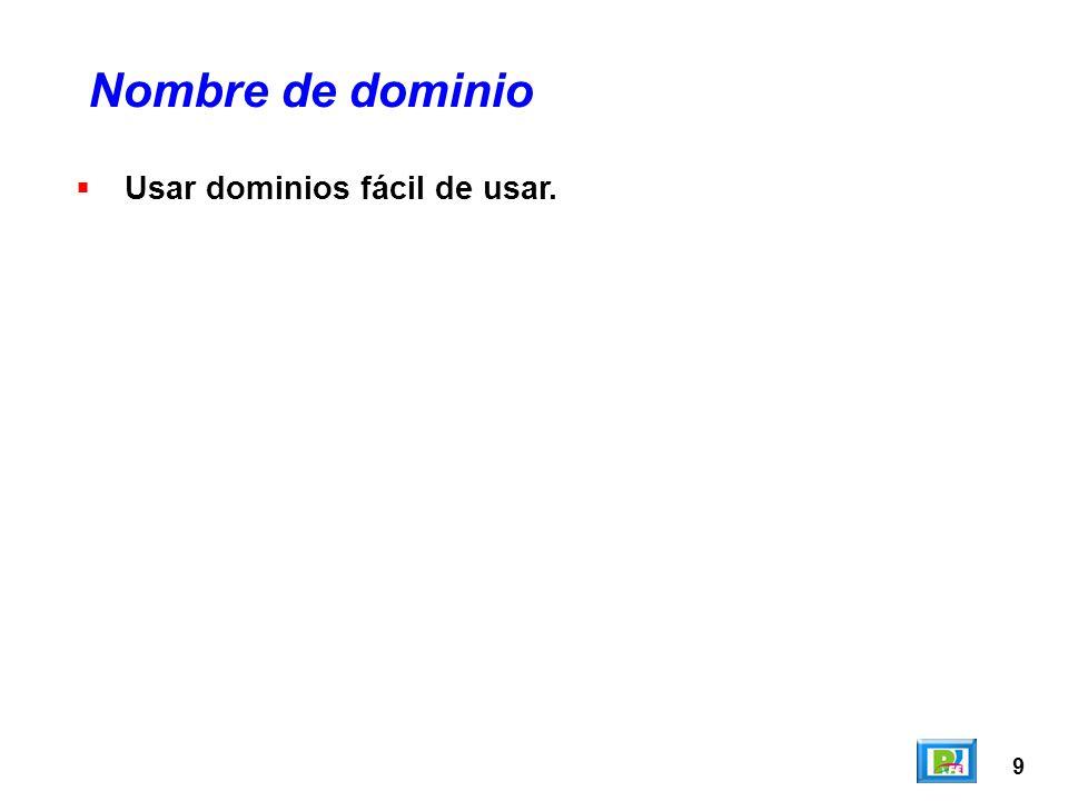 9 Usar dominios fácil de usar. Nombre de dominio