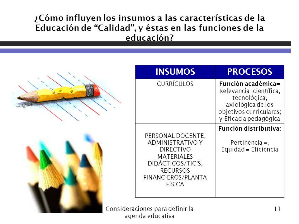07/06/2014Consideraciones para definir la agenda educativa 11 ¿Cómo influyen los insumos a las características de la Educación de Calidad, y éstas en las funciones de la educación.