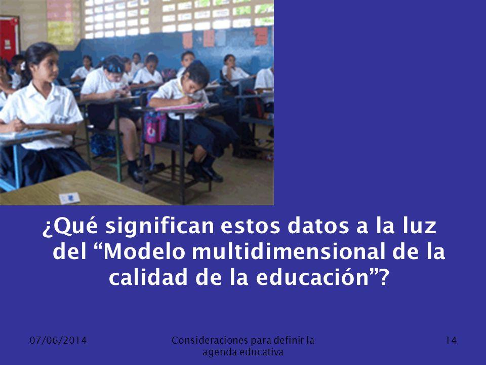 07/06/2014Consideraciones para definir la agenda educativa 14 ¿Qué significan estos datos a la luz del Modelo multidimensional de la calidad de la edu