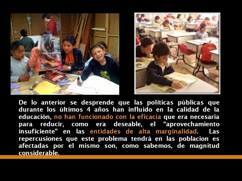 07/06/2014Consideraciones para definir la agenda educativa 26 De lo anterior se desprende que las políticas públicas que durante los últimos 4 años ha