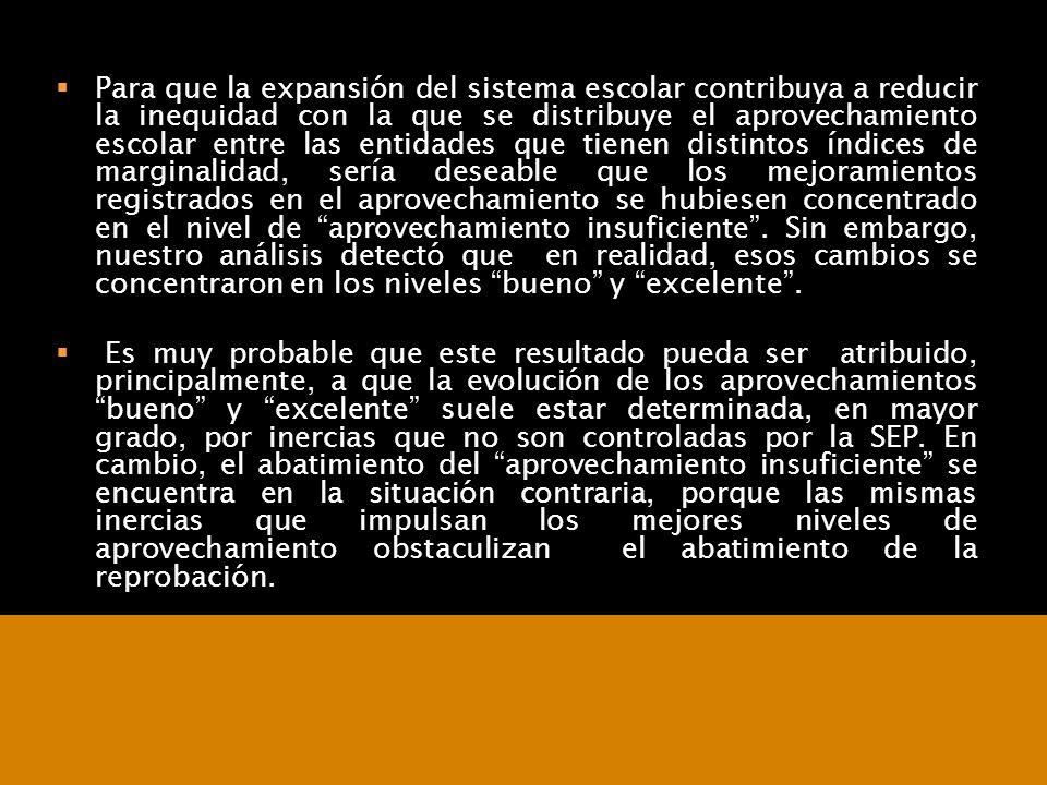 07/06/2014Consideraciones para definir la agenda educativa 27 Para que la expansión del sistema escolar contribuya a reducir la inequidad con la que s