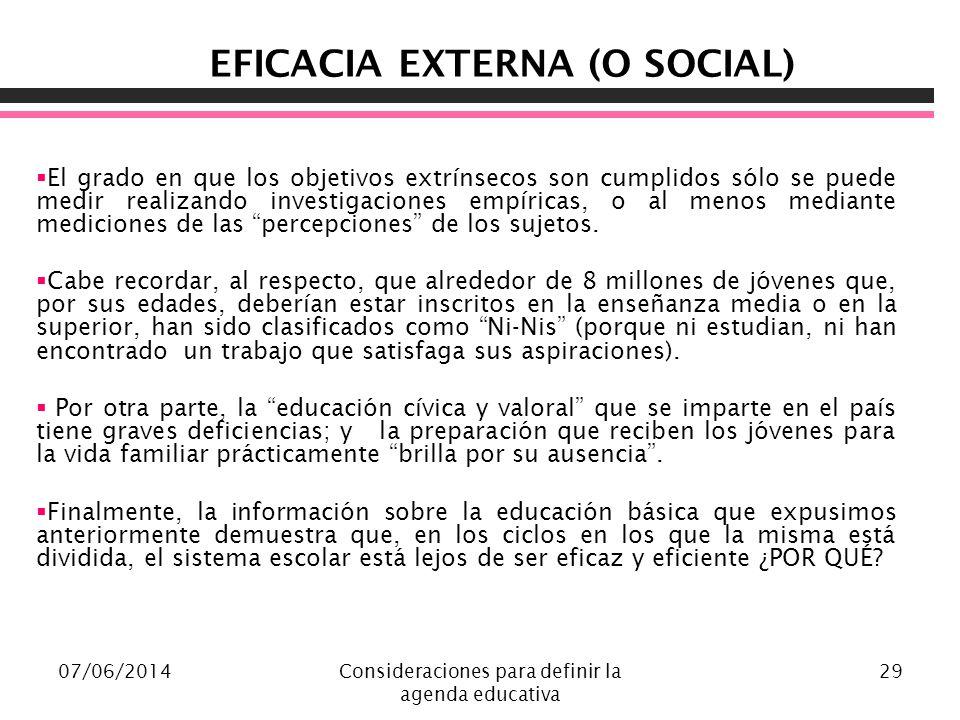 07/06/2014Consideraciones para definir la agenda educativa 29 EFICACIA EXTERNA (O SOCIAL) El grado en que los objetivos extrínsecos son cumplidos sólo