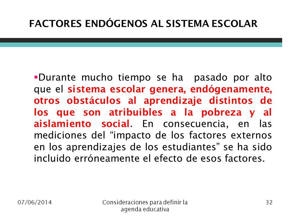 07/06/2014Consideraciones para definir la agenda educativa 32 FACTORES ENDÓGENOS AL SISTEMA ESCOLAR Durante mucho tiempo se ha pasado por alto que el